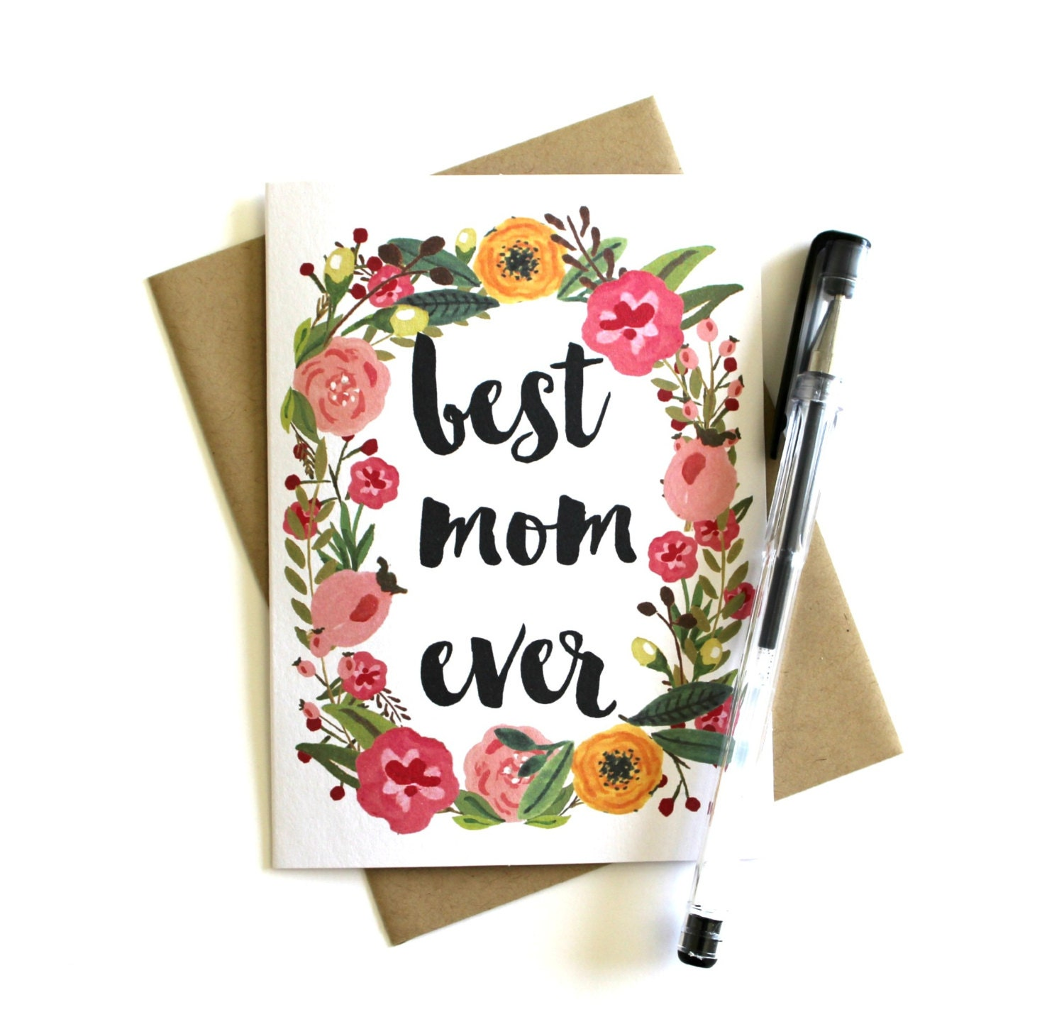 Mother s Day Card Best Mom Ever Floral