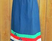 On Sale-Vintage SANIBEL SPORT Striped  COTTON Skirt