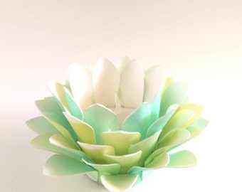 Paper Floral Lantern - Lotus Flower - Watercolor Paper Lotus - Green and Yellow - Wedding Table Decor - Waterlily - Tealight holder