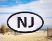 """New Jersey NJ Patch - Iron or Sew On - 2"""" x 3.5"""" - Embroidered Oval Appliqué - Garden State - Black White - Hat Bag Accessory - Handmade USA"""