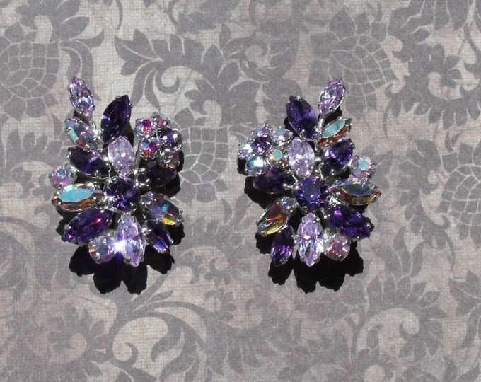 Rare Signed Sherman Purple Flower Earrings / Swarovski Crystal Sherman / Purple-Lavender Clear & Aurora Borealis Crystals / Gustave Sherman