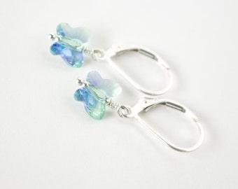 Butterfly Earrings , Girls' Butterfly Earrings , Children's earrings , Leverback earrings , gift for a girl , Purple and green blend