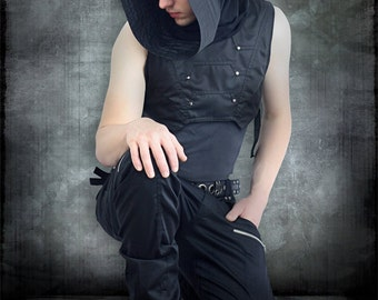 Transmition Cowl Vest with Gunmetal Hardware by Loose Lemur Clothing