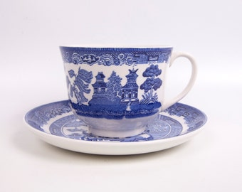 Vintage Blue Willow Teacup Saucer Johnson Bros England Blue and White Porcelain Tea Cup