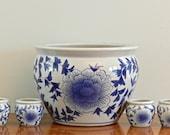 Large Vintage Asian Planter Blue White Ceramic Planter Flower Pot Fish Bowl Jardiniere Chinoiserie Indoor Planter Cachepot Garden Decor