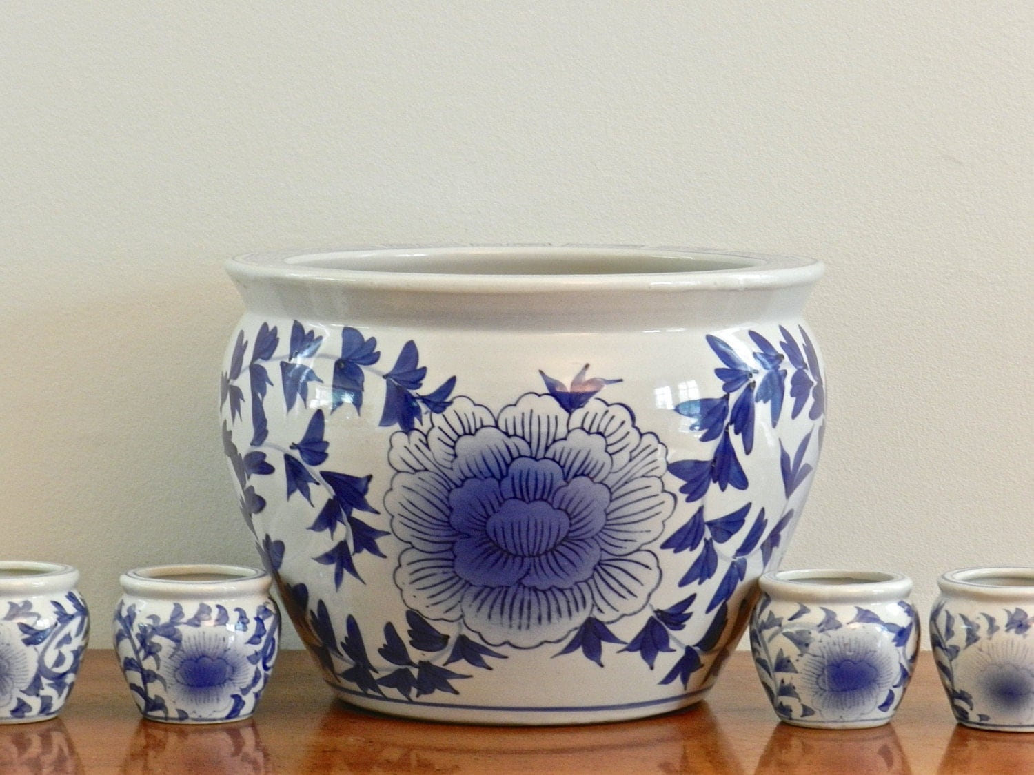 Large Vintage Asian Planter Blue White Ceramic Planter Flower