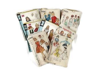 50s 60s Simplicity McCalls Pattern Lot, Girls Size 12, Dress Blouse Skirt, 9392, 4419, 4084