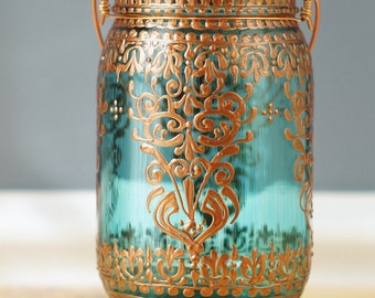 Bohemian Hanging Lantern, Mason Jar Candle Holder with Copper Design, Moroccan Home Decor, Mason Jar Lantern, Painted Mason Jar Decor
