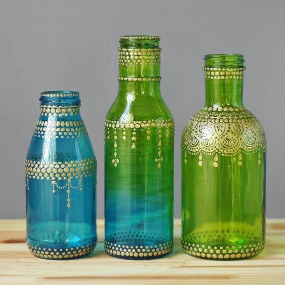 Moroccan Style Glass Jar Bud Vases Ombre Teal To Lime Green