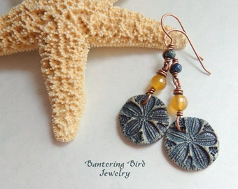 Beach Earrings, Ceramic Sand Dollar, Indigo Blue Pottery and Yellow Agate, Artisan Copper Summer Jewelry