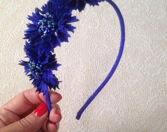 Cornflowers leather headpiece, Leather headband, Bridesmaid gift, Anniversary gift, Royal blue flowers, Flowergirl heapiece, Bridal headband