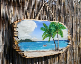Beach Painting On Distressed Wood Outdoor Indoor Tropical Decor Hanging Art  Seascape Painting Palm Tree Art