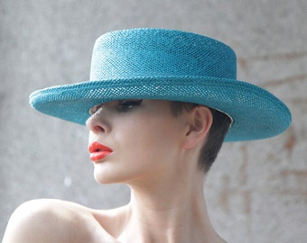 Turquoise green blue wide brim straw summer boater cowboy sun hat