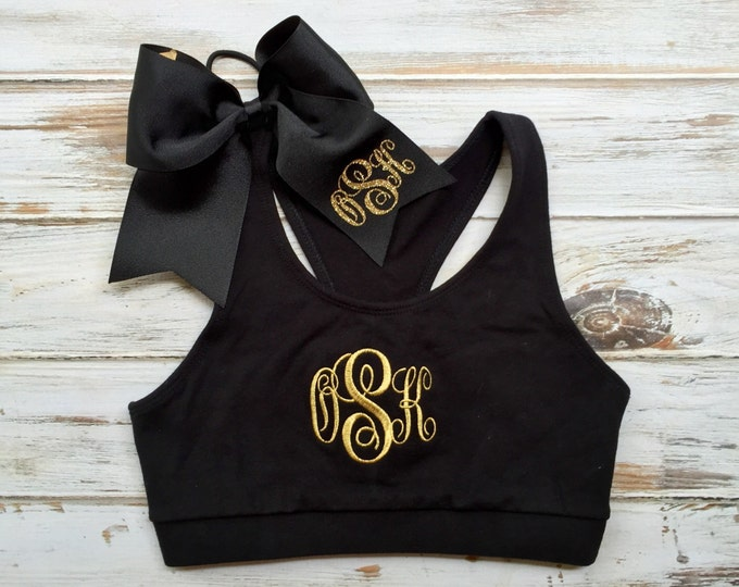 Monogrammed Sports Bra and Cheer bow Set, Monogrammed Gifts, Girls Sports Bra, Ladies Sports Bra, Cheer Sports Bra, Custom Sports Bras