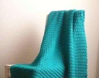 Teal Blanket /  Teal Throw Blanket / Wool Crochet Blanket / Crochet Blanket / Teal Wool Blanket