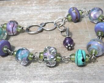 Monet Garden Bracelet II // Organic Lampwork Bracelet // Oxidized Sterling Silver