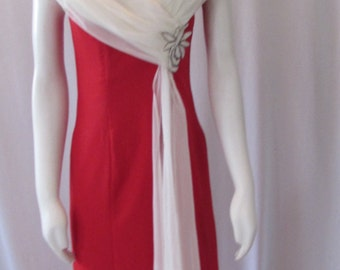 Vintage 70's formal  long red dress  made in USA