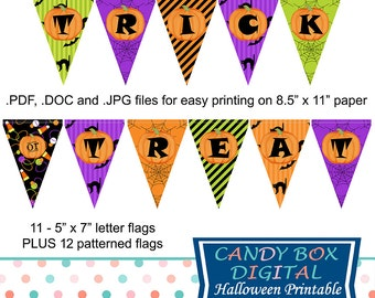 Halloween Banner, Halloween Party Decor, Trick or Treat Banner, Printable Halloween Banner, DIY Halloween Banner - Commercial Use OK
