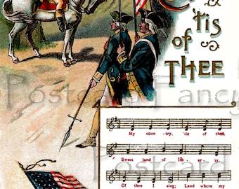 PATRIOTIC Vintage Postcard, George Washington, music notes My COUNTRY Tis of Thee, DIGITAL Download