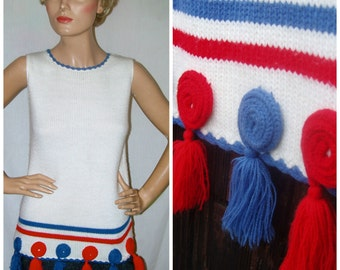 60s 70s Vintage Patriotic Red White &  Blue Knit Sweater Shell . U S A