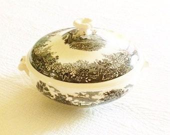 Vintage Cottage Home Scenic Raven Black and Heirloom White Covered Serving Dish, Vintage Dining, Olives and Doves