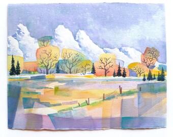 Landscape Painting, Mountain Landscape, Watercolor Landscape, Abstract Landscape, Patchwork Landscape, Mountain View, Mountain Art, Luminous