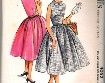 """Vintage 1957 McCall's 4052 Teen & Junior Blouse and Skirt Sewing Pattern Size 11 Bust 31 1/2"""""""