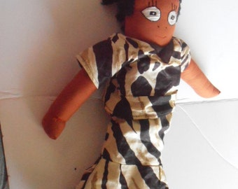 SALE Vintage African American cloth doll, handmade, infant and toddler friendly, embroidered face