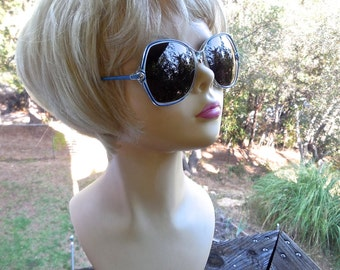 Vintage 80s Oversize Sunglasses by Elizabeth Arden Blue Enamel and Clear Frame with Polarized Lenses