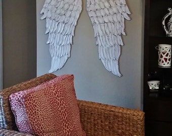 Wood Angel Wings Wall Art, Carved Look Angel Wings Sculpture, Architectural Decor Nursery Art, Angelic Choose Your Color White, Gold, Silver