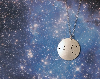 Leo constellation zodiac sterling silver necklace July 23 - August 22 birthday astrology