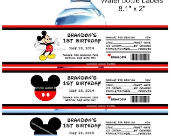 Unique Personalized Mickey Mouse, Baby Mickey First Birthday Party Favor Water Bottle Labels