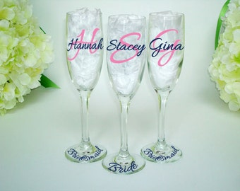 3 Bridesmaid Dress Champagne Flute - Bridesmaid Gift Champagne Flutes - Monogrammed Toasting Flutes - Wedding Party Glasses
