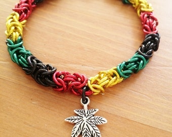 Rasta Hemp Chainmaille Bracelet, Jamaican, Rastafarian, One Love, Anodized Aluminum and Charm