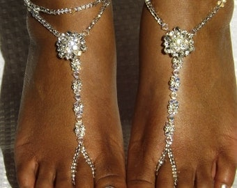 Bridal Barefoot Sandles Rhinestone Foot Jewelry Beach Wedding Sandals Foot Thong Dazzinng Anklet Anklet  Silver Sandles