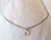Rustic B Coin Choker Necklace, Personalized womens B initial charm, B monogram for friend, Unique B name coin hipster teen birthday gifts