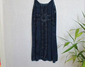 vintage blue tank dress S or M