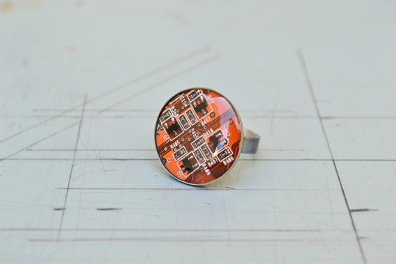 Industrial Statement Ring Jewelry - Solid Sterling Silver Circuit Board Ring - Modern Steampunk Orange Black Ring
