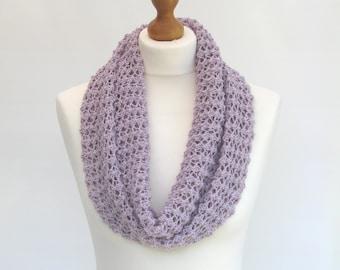 Knit Cotton Scarf / Knit Cotton Cowl / Purple Cotton Scarf / Purple Summer Scarf / SALE