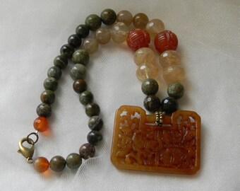 Carved carnelian pendant w opal beads & quartz nuggets necklace , beaded jewelry , carnelian pendant w fish , carnelian jewelry , unusual