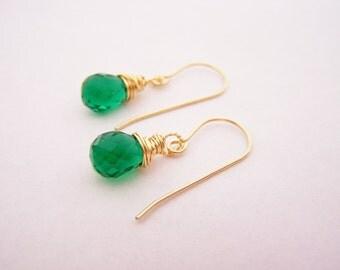 Emerald Hydro Quartz Briolette Drop Gold Filled Earrings - Gold Filled Earrings - Drop Earrings - Dainty Earrings - Green Earrings
