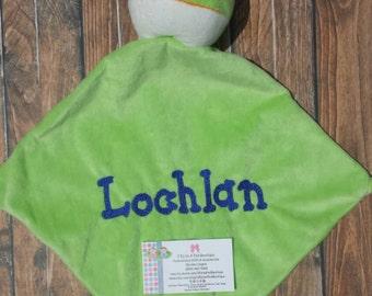 Personalized Frog Security Blanket, Embroidered Snuggle Blanket with Frog, Monogrammed Frog Cuddle Blanket