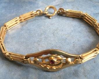 Antique/Vintage Link Bracelet with Bezel Set Red Stone