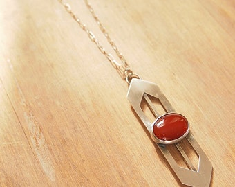 Oval red agate stone in two-ended arrow abstract silver necklace OOAK - Shield Necklace