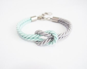 Nautical bracelet - marine bracelet - mint and gray bracelet -  silk rope bracelet - maid of honor bracelet - bridesmaid jewelry