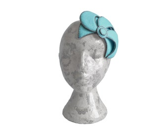 Aqua blue & Silver Fascinator - Zip and Felt