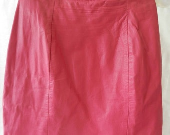 SALE  Leather Mini Skirt 1980's Hot Pink