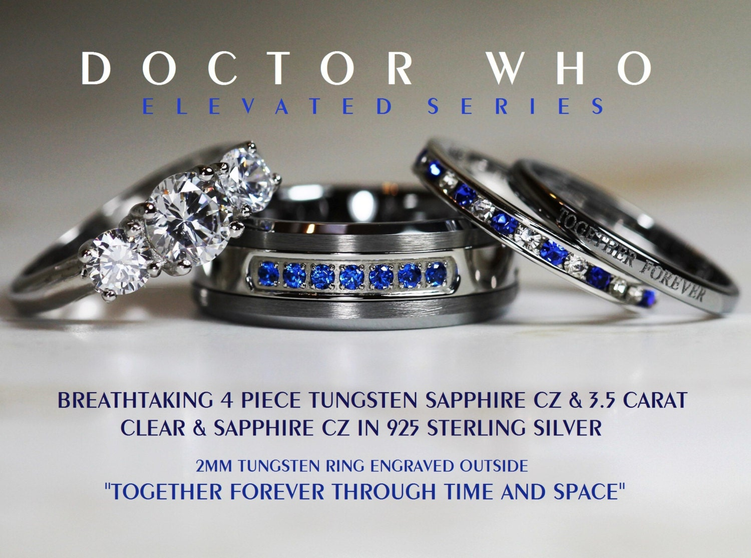 cz and sapphire wedding ring set