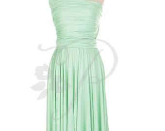 Bridesmaid Dress Infinity Dress Seafoam Green Knee Length Wrap Convertible Dress Wedding Dress