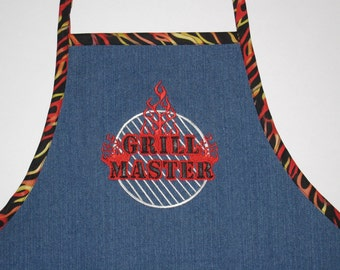 Embroidered GRILLING  APRON - Denim Grilling or Cooking Apron - For Dad, Grandpa, Chef, Husband, Son - Christmas or Birthday Gift